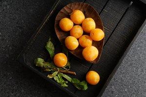 Sweet summer yellow plums