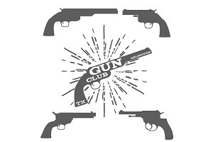 Gun Club Design Elements Isolated