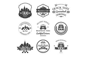 Set of taxi badges, logos and labels