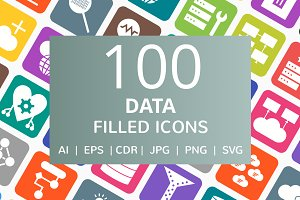 100 Data Filled Round Corner Icons