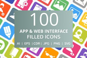 100 App & Web Interface Filled Icon