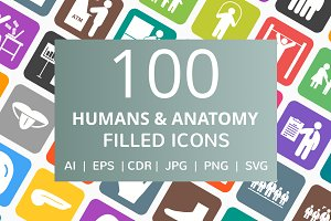100 Humans & Anatomy Filled Icons