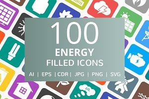 100 Energy Filled Round Corner Icons