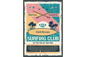 Surfing club paradise poster