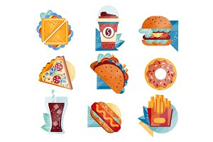 Flat vector icons with fast food