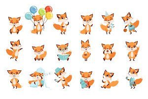 Cute little foxes showing various