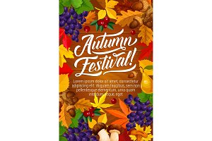 Autumn festival poster with harvest