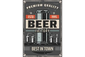 Beer factory or brewery bar poster