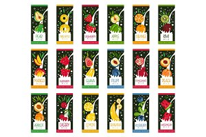 Labels for fruits milk. 9 different