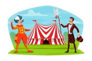 Circus cartoon clown and illusionist