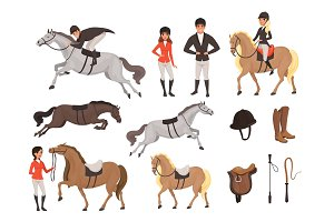Cartoon jockey icons set with