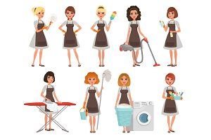 Set of housewives with different