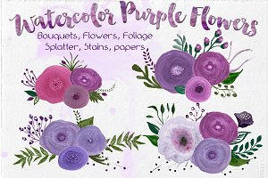 Watercolor Png Flowers - Purple