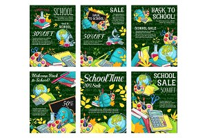 Back to School vector sale posters