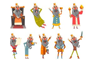 Set of funny king in various