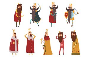 Set of different funny bearded