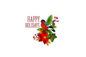 Christmas bullfinch wreath greeting