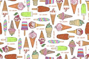 Pattern with hand drawn ice cream