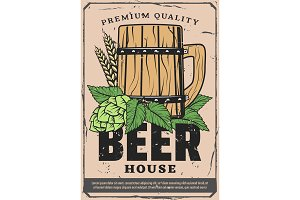 Beer house poster, craft wooden pint