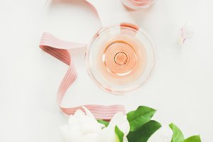 Greeting card concept with rose wine