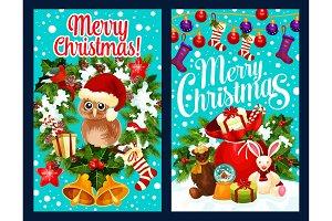 Santa gift bag, Christmas greeting