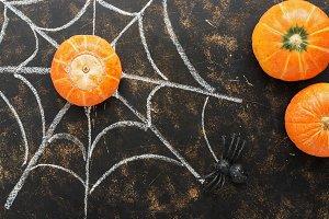 Halloween, pumpkin, spider and a