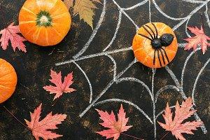Halloween, pumpkin, maple red leaves