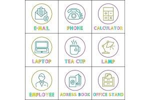 Office Workspace Arrangement Lineout