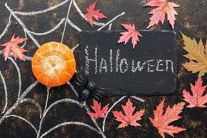 Halloween, pumpkin, spider, leaves