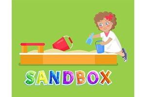 Girl playing in sandbox with toys