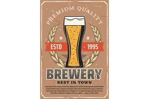 Brewery, beer bar and pub poster