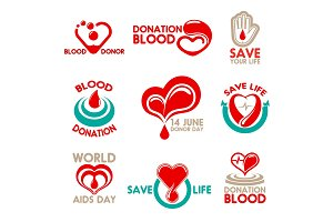 Blood donation icons for transfusion