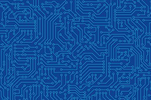 Blue circuit board seamless pattern