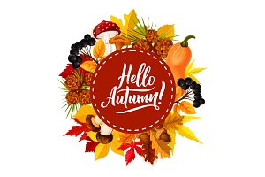 Hello autumn poster, leaf and berry