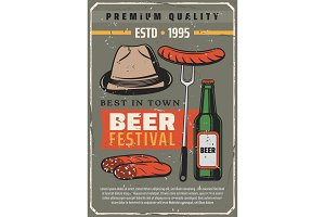 Beer festival and sausages poster