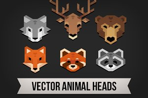 Polygonal animal heads