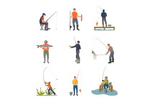 Fishing Hobby Activity Set Vector