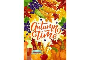 Autumn time harvest fest poster