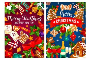 Christmas New Year vector greetings