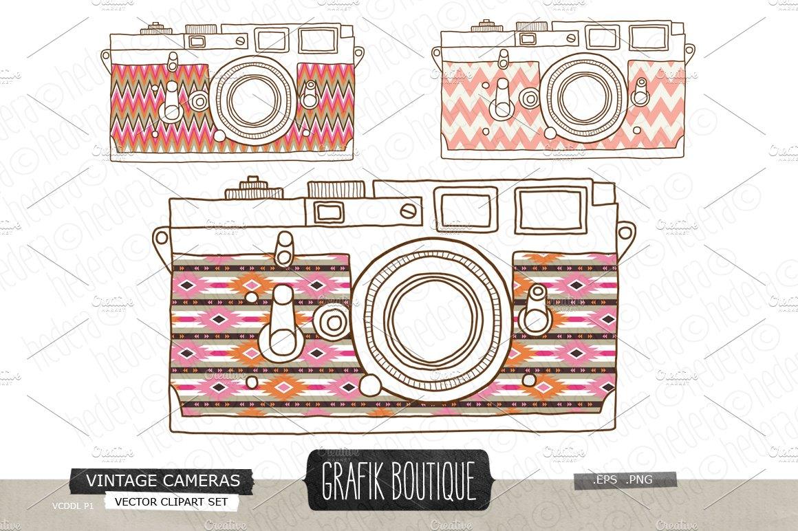 Vintage Camera Hand Drawn Aztec Skin