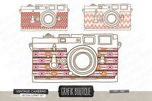 Vintage camera hand drawn aztec skin