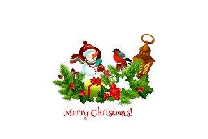 Snowman, gift and Xmas garland