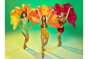 young beautiful dancers posing on