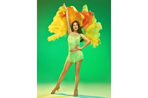 young beautiful dancer posing on