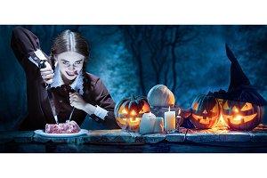 Bloody Halloween theme: crazy girl