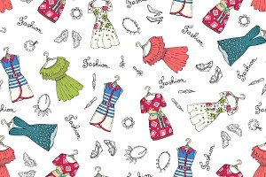 Pattern with dresses, shoes, jewelry