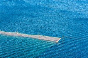 fishing net,sea, rocks. Russia, Repu