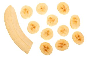 banana sliced isolated on white