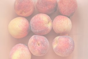 Many peach fruits, soft faded tone b