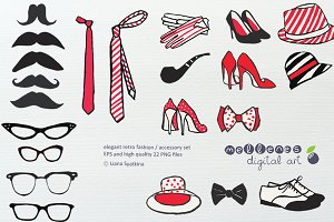 retro clip art set